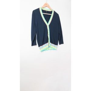 J. Crew Sweaters - Jcrew navy blue merino wool neon trim cardigan